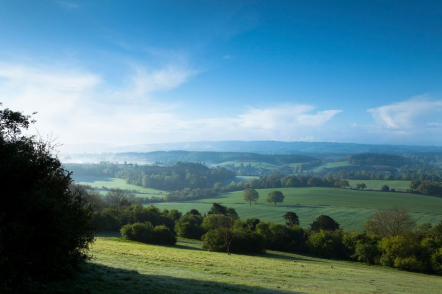 Newlands Corner view, near Guilford, Surrey Hills, North Downs, Surrrey, England, United Kingdom, Europe