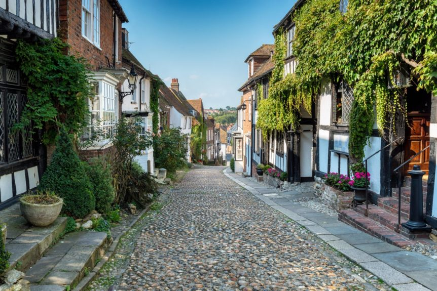 Picturesque cobblestone street in Rye, East Sussex