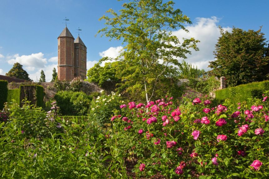 View from the Rose Garden to the Elizabethan tower, Sissinghurst Castle Gardens, Kent, Great Britain
