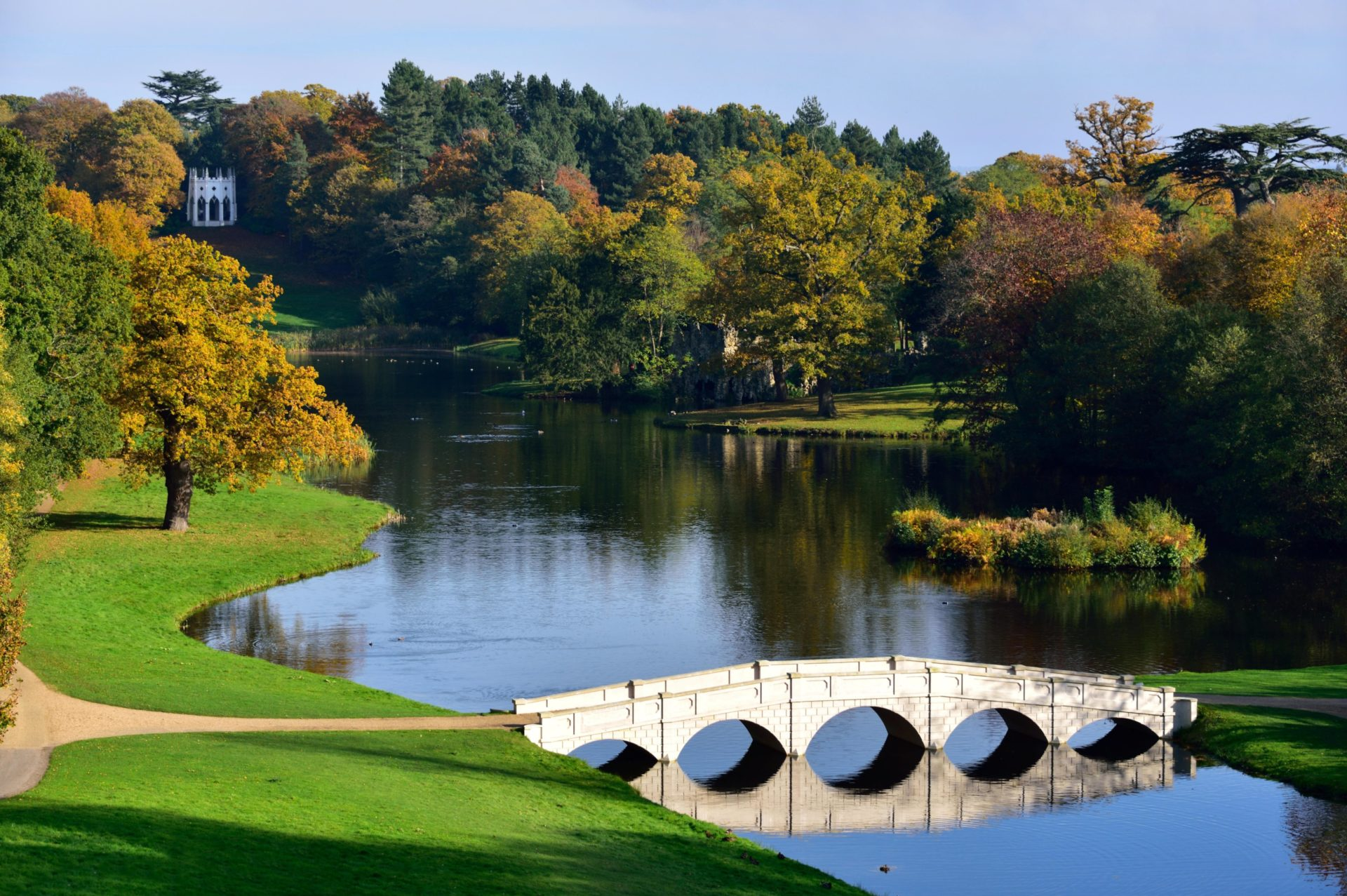 Autumn View of Painshill Park, with the 5 Arch Bridge and the Gothic Temple